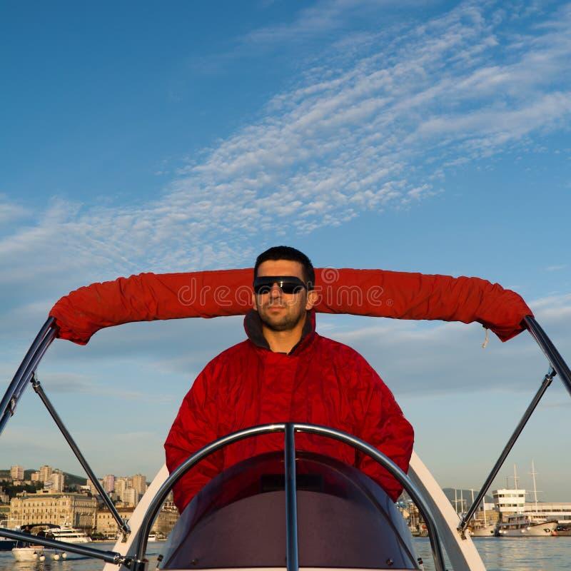 Kapten på ett rubber fartyg royaltyfri fotografi