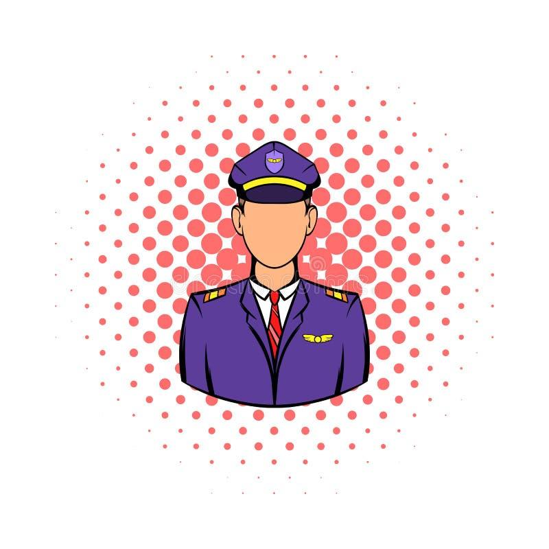 Kaptenen av flygplansymbolen, komiker utformar royaltyfri illustrationer