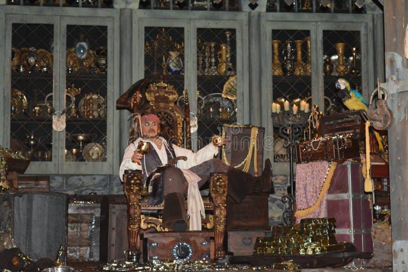 Kaptenen Jack Sparrow och papegojan - piratkopierar av den karibiska filmen - Walt Disney parkerar ritten - magiskt kungarike arkivfoton