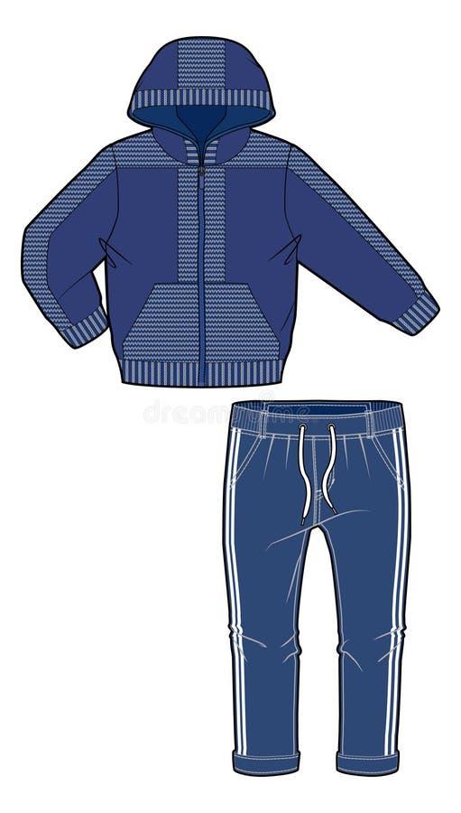 Kapturzasta kurtka z zamka błyskawicznego zamknięciem i joggers z uelastyczniającym drawstring przy talią i ożebrowaniem ilustracja wektor