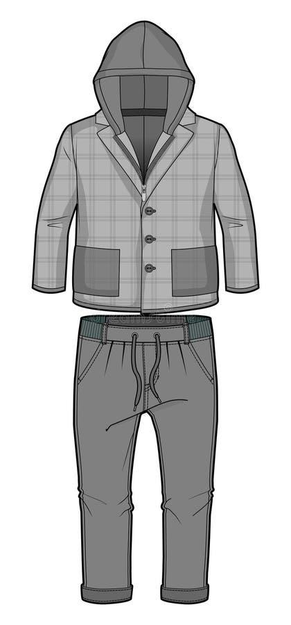 Kapturzasta w kratkę popielata kurtka z zamka błyskawicznego zamknięciem, kieszenie i joggers z uelastyczniającym ożebrowaniem ilustracji