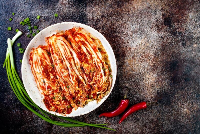 Kapuściany kimchi Koreańska tradycyjna kuchnia Fermentujący jedzenie kosmos kopii zdjęcia stock