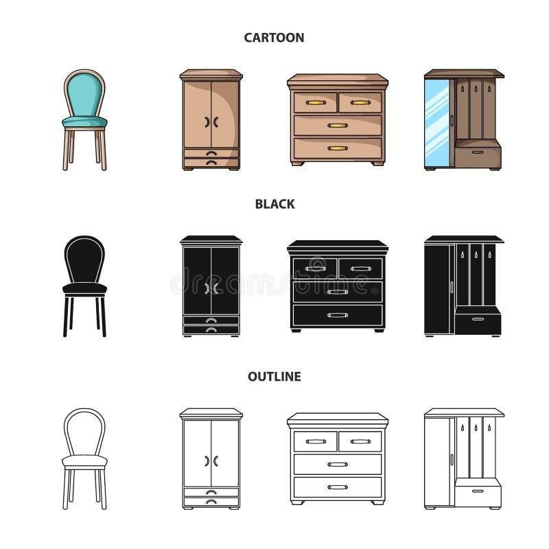Karło, gabinet, wezgłowie, stół Meble i domowego interiorset inkasowe ikony w kreskówce, czerń, konturu stylowy wektor royalty ilustracja