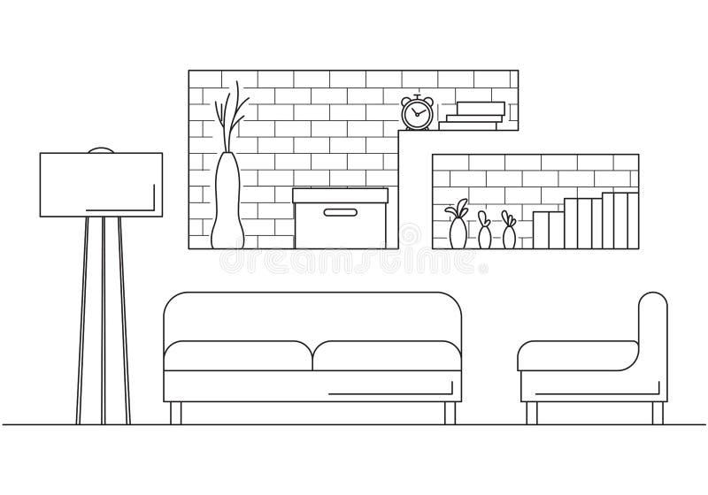 Karło, kanapa, lampa i inni elementy, Wnętrze w skandynawa stylu Wektorowa ilustracja w liniowym stylu ilustracji
