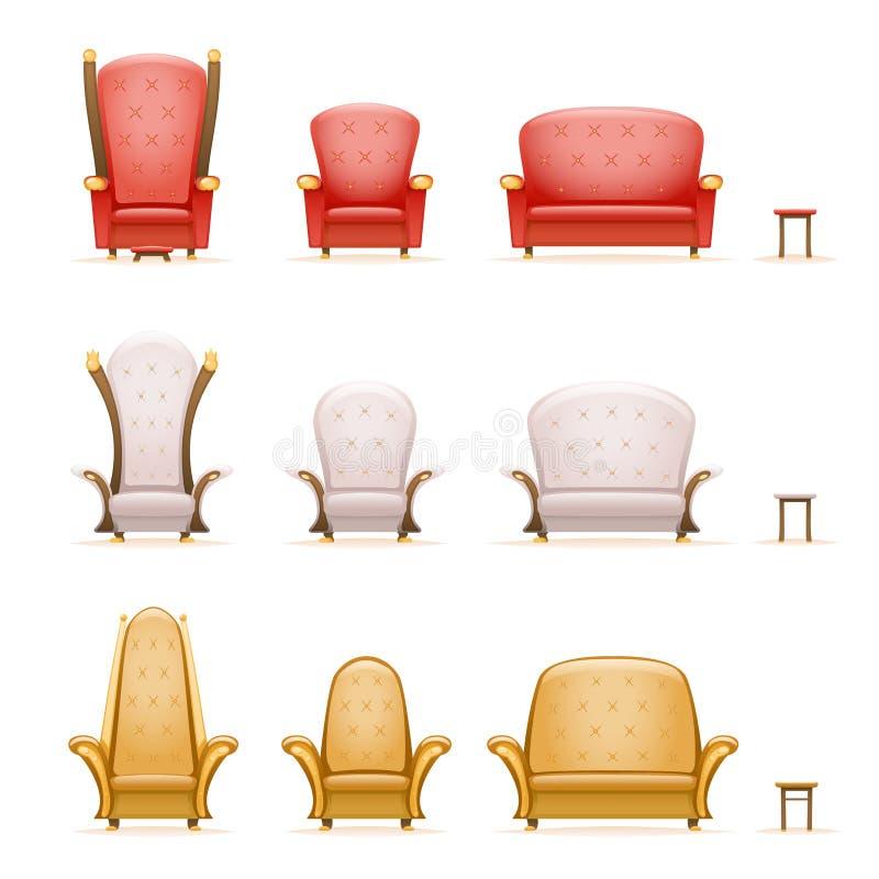 Karło kanapy leżanki krzesła bajki tronowa kreskówka 3d odizolowywał retro ikony ustawiającą rocznik wektorową ilustrację ilustracja wektor