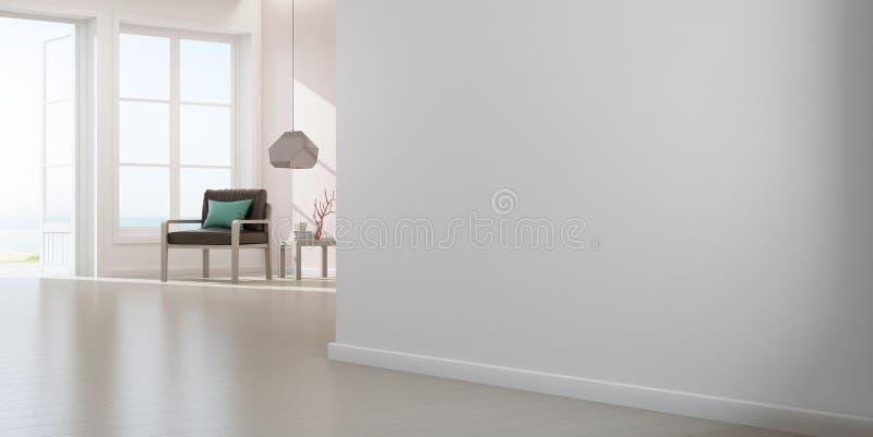 Karło na drewnianej podłodze z okno i menchii betonowej ściany tłem w wielkim żywym pokoju przy nowożytnym nowym domem ilustracja wektor