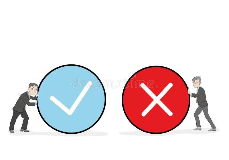 Karły trzyma prawdziwego i fałszywego znaka Pozytywnej i negatywnej informacje zwrotne pojęcie ilustracji