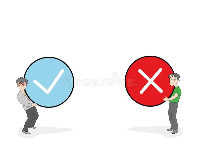 Karły trzyma prawdziwego i fałszywego znaka Pozytywnej i negatywnej informacje zwrotne pojęcie Tak lub Żadny ikona projekta płask ilustracji