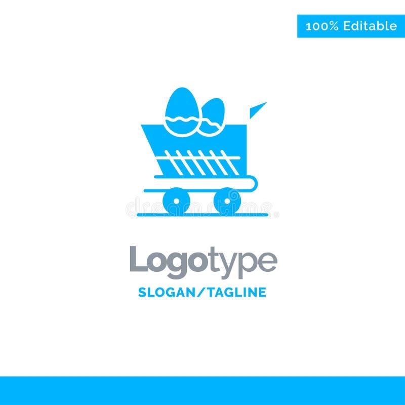 Kar, Karretje, Pasen, Winkelend Blauw Stevig Logo Template Plaats voor Tagline vector illustratie