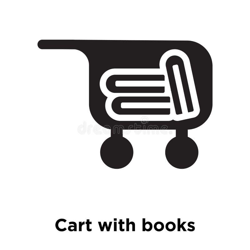 Kar met de vector van het boekenpictogram op witte achtergrond, embleem c wordt geïsoleerd dat royalty-vrije illustratie