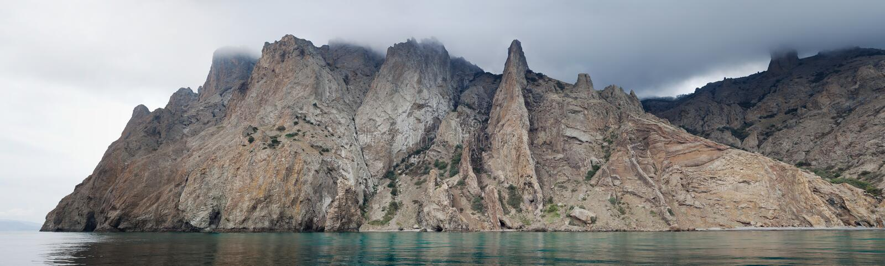 Kara Dag mountain panorama stock photo