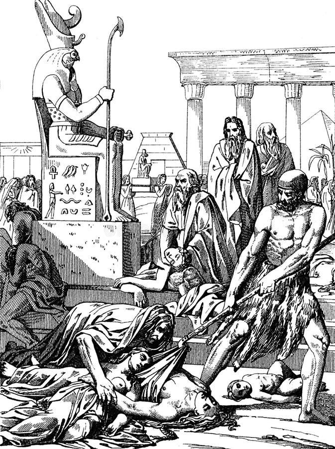 Kara egipcjanie Dżuma Egipt ilustracji