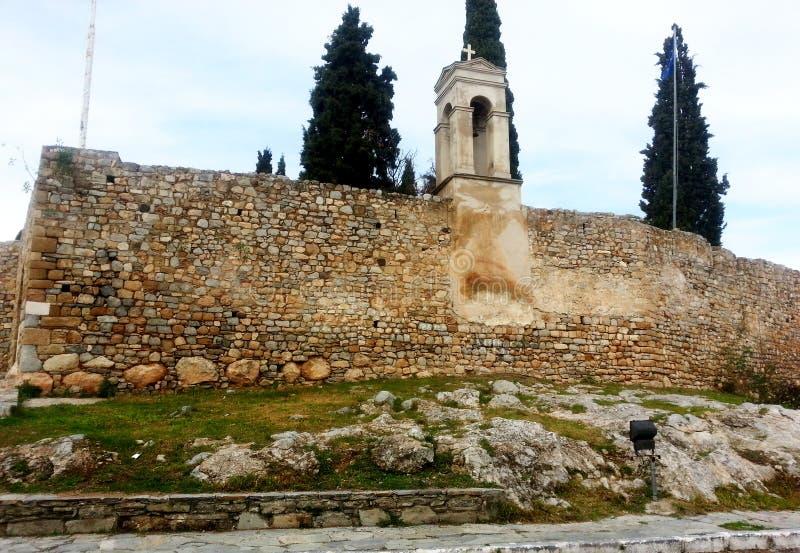 Karababa堡垒在Chalkis,希腊 图库摄影