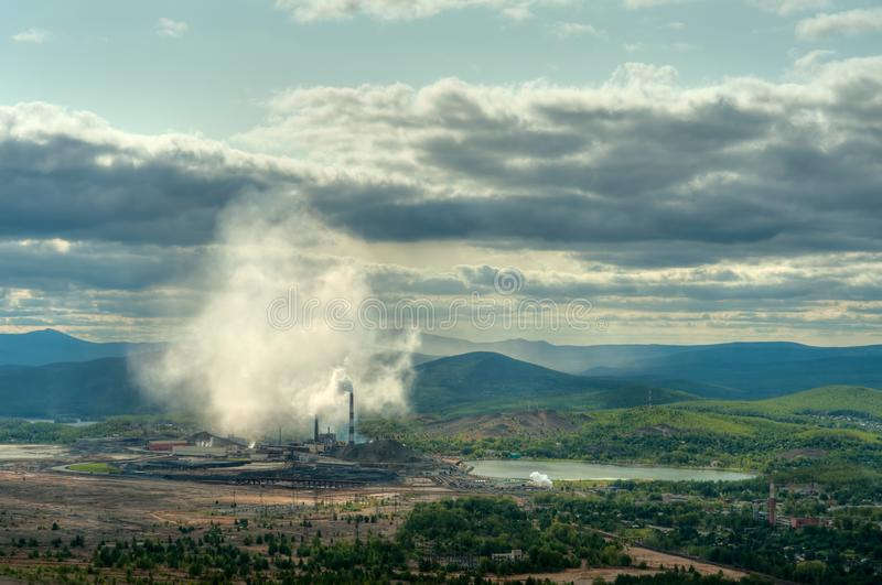 Karabash copper smelting plant. View from the mountain from the Pious Cross stock photos
