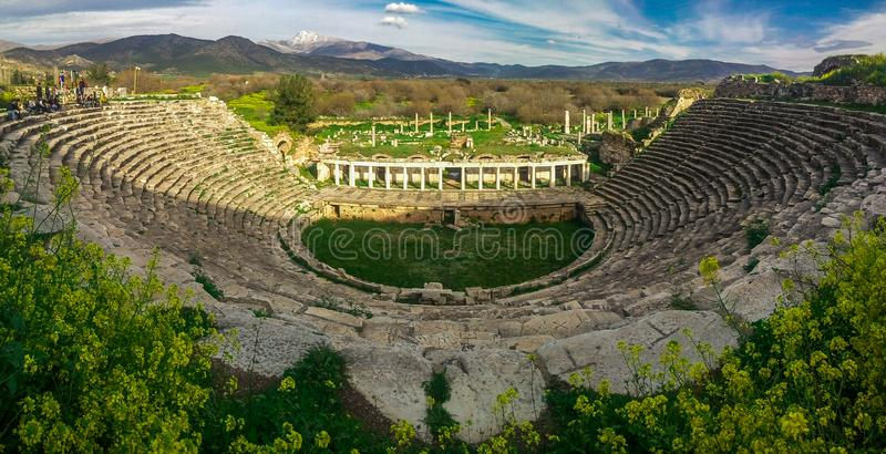 Panoramic Theather view of Aphrodisias Afrodisias Ancient City. Aphrodisias was named stock images