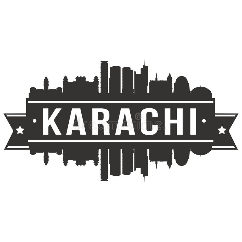 Karachi Pakistan Asia Icon Vector Art Design Skyline Flat City Silhouette Editable Template. A emblematic elements of this city, template vector icon building royalty free illustration
