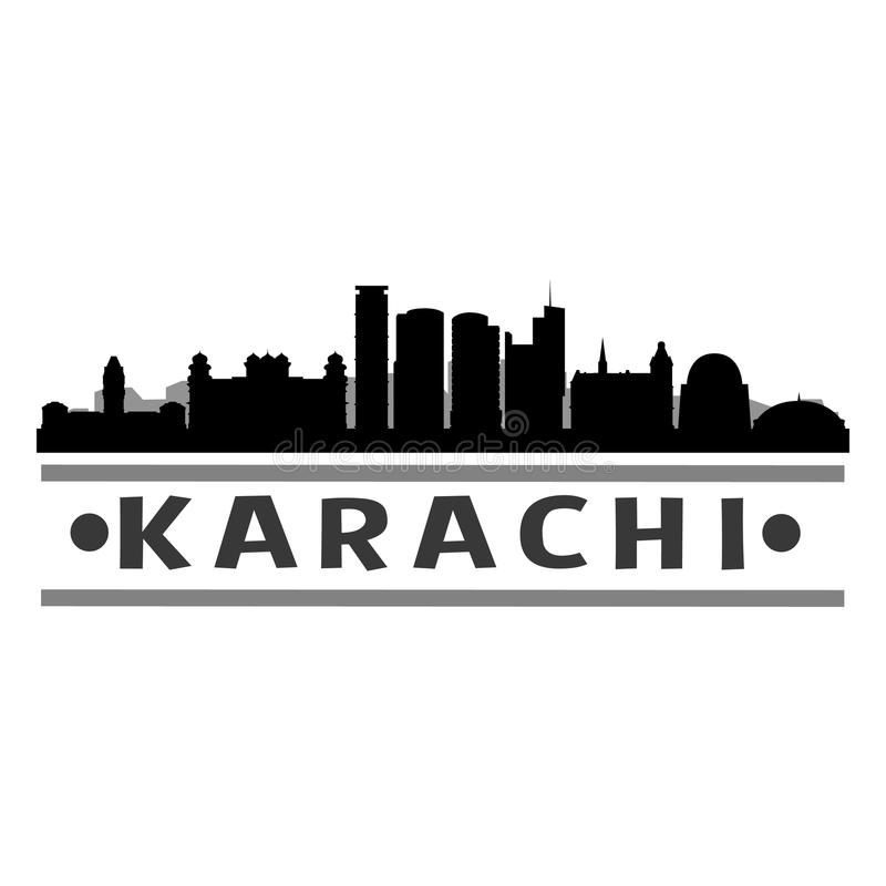 Karachi Pakistan Asia Icon Vector Art Design Skyline Night Flat Shadow. A emblematic elements of this city, template vector icon building urban art royalty free illustration