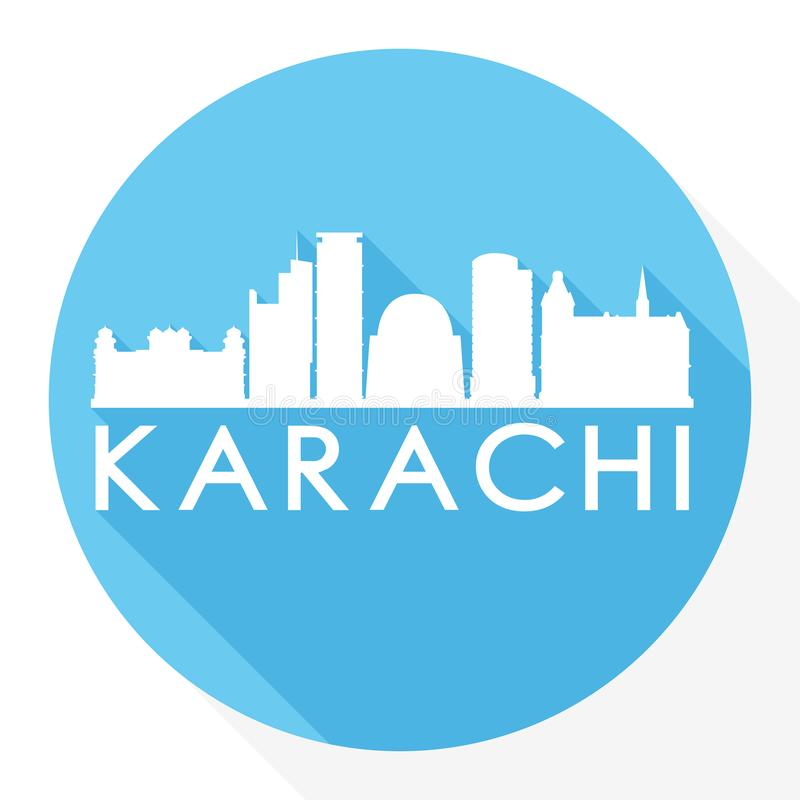 Karachi Pakistan Round Icon Vector Art Flat Shadow Design Skyline City Silhouette Template Logo. Skyline with emblematic Buildings and Monuments of this famous vector illustration