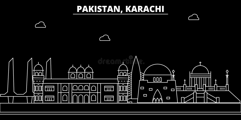 Karachi silhouette skyline. Pakistan - Karachi vector city, pakistani linear architecture, buildings. Karachi travel. Karachi silhouette skyline. Pakistan vector illustration
