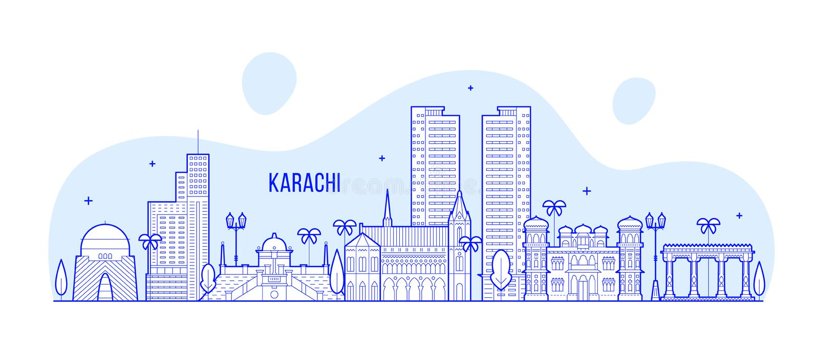 Karachi skyline Pakistan city vector linear art. Karachi skyline, Pakistan. This illustration represents the city with its most notable buildings. Vector is royalty free illustration