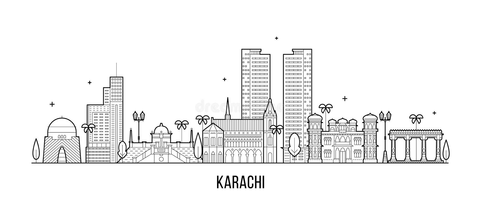 Karachi skyline Pakistan city vector linear art. Karachi skyline, Pakistan. This illustration represents the city with its most notable buildings. Vector is stock illustration