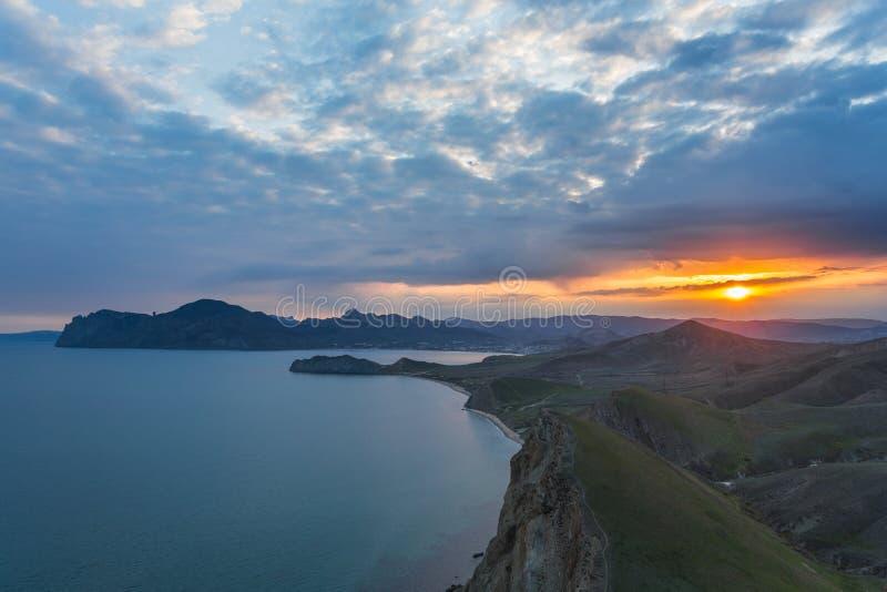Karadag bij zonsondergang in de Krim royalty-vrije stock afbeelding
