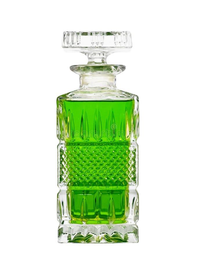 Karaf met groene vloeistof royalty-vrije stock fotografie