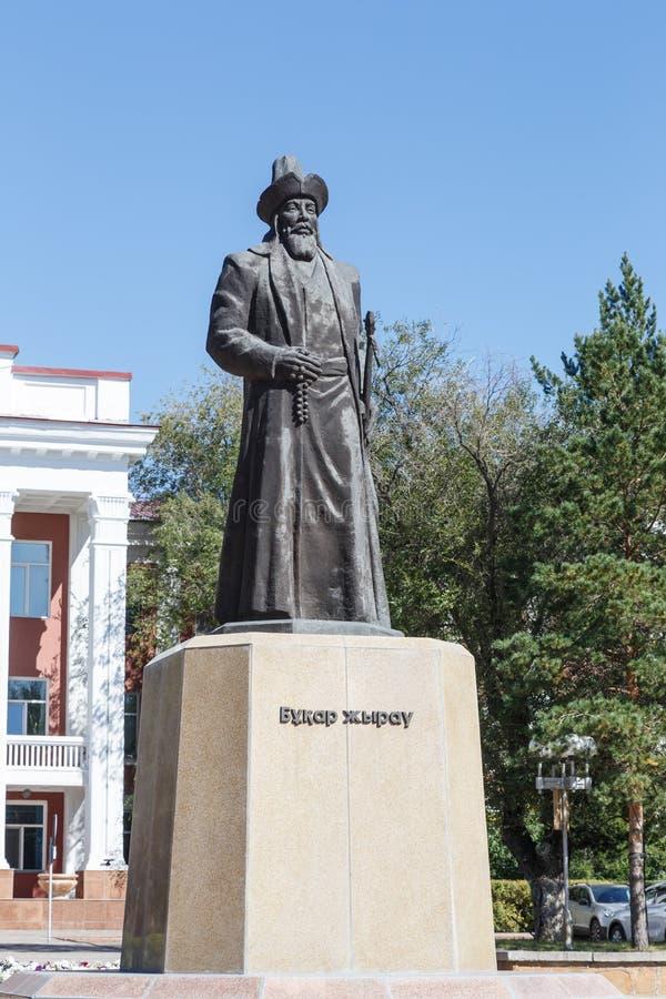 Karaganda, Cazaquistão - 1º de setembro de 2016: Monumento Buhar Zhyrau fotos de stock
