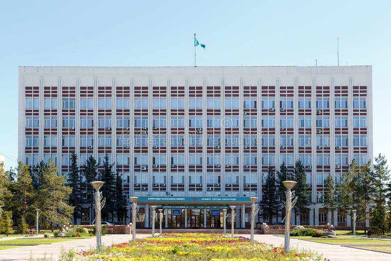 Karaganda, Kazachstan - September 1, 2016: Akimat van Karaganda stock foto's