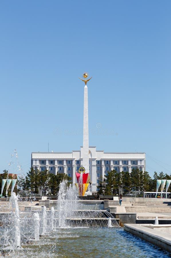 Karaganda Kazachstan, Wrzesień, - 1, 2016: Zabytek Independe fotografia stock