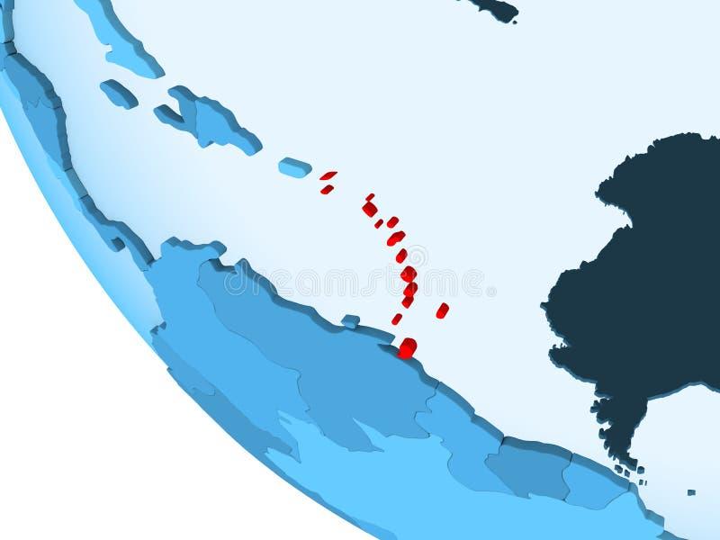 Karaiby na błękitnej politycznej kuli ziemskiej ilustracji