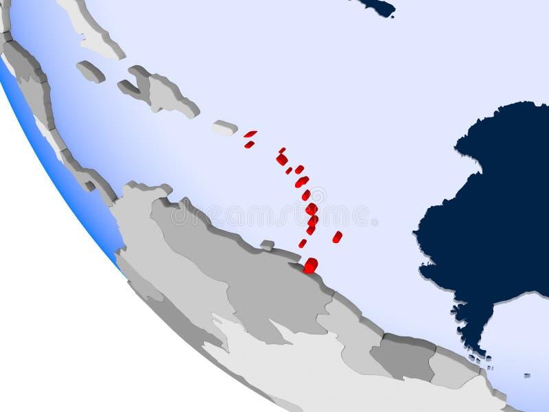 Karaiby na politycznej kuli ziemskiej ilustracja wektor
