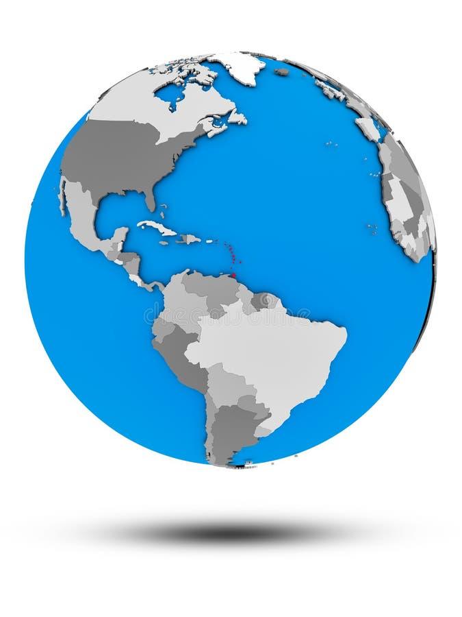 Karaiby na politycznej kuli ziemskiej odizolowywającej ilustracja wektor