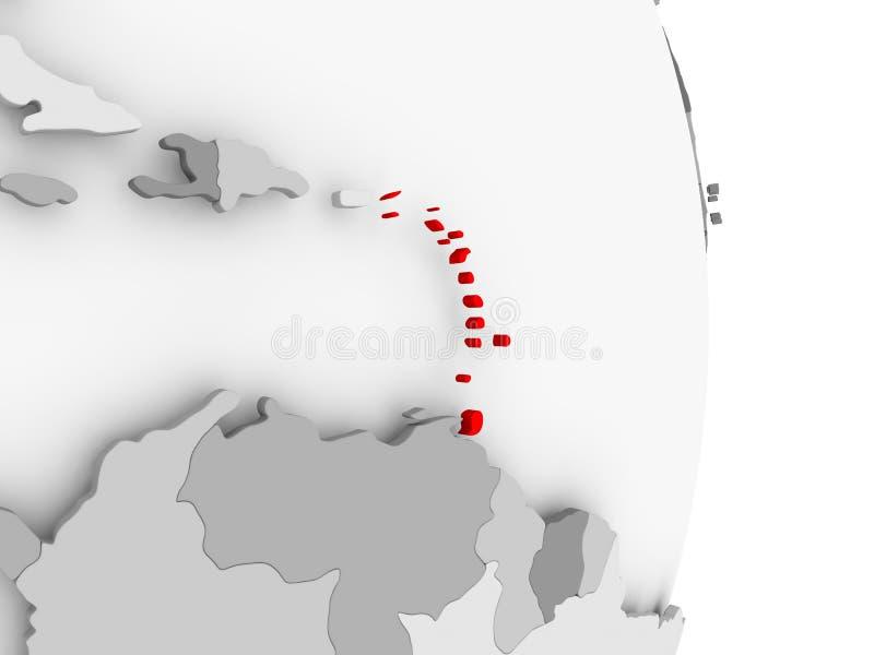 Karaiby na popielatej politycznej kuli ziemskiej ilustracja wektor