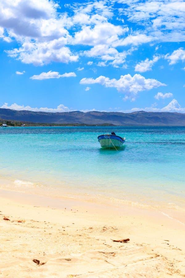 Karaiby plaża w Małej Tropikalnej wiosce rybackiej czyste wody na łodzi drzewo pola niebieskie niebo republika dominikańska fotografia royalty free