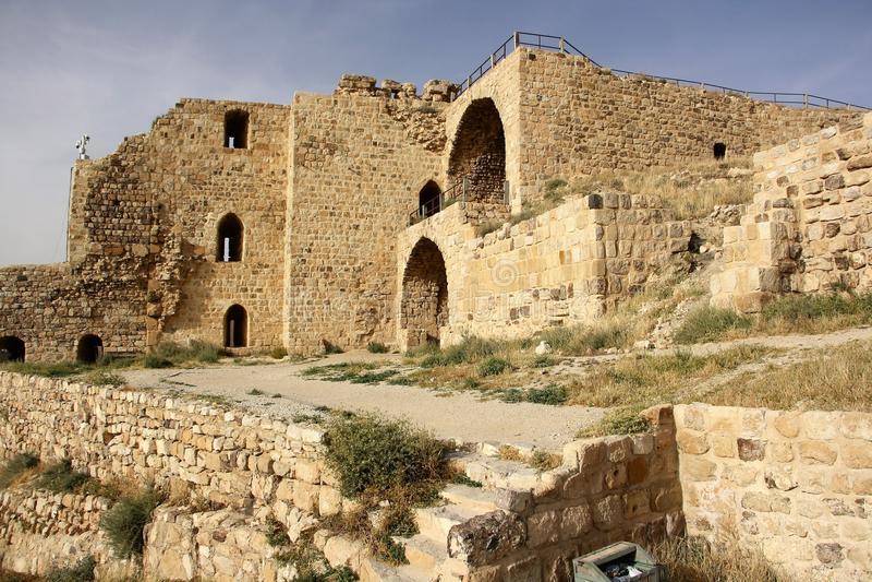 Karak城堡在约旦 库存图片