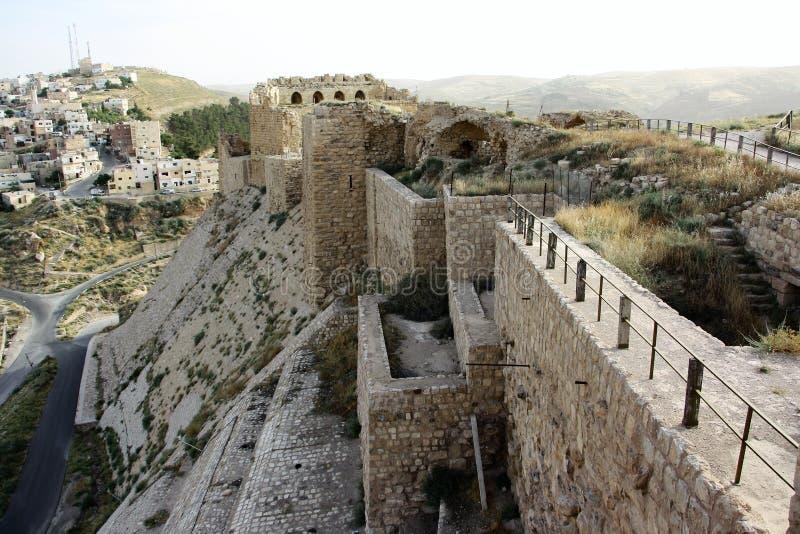 Karak castle in Jordan. Old, historic, medieval crusaders castle in Karak (aka Kerak), Jordan. It is one of the largest crusader castles in the Levant stock photos