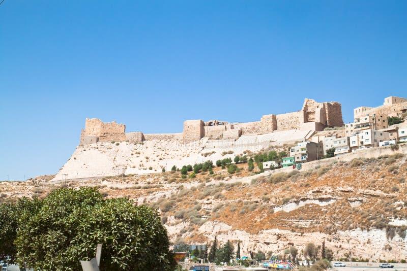 Karak fortress, Jordan. The Crusader fortress of Karak ( Kerak) - the outer walls seen from east side. Jordan stock photo