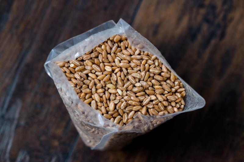 Karakilcik Organic Wheat Grain Seeds in Plastic Package / Container. Traditional Food royalty free stock image