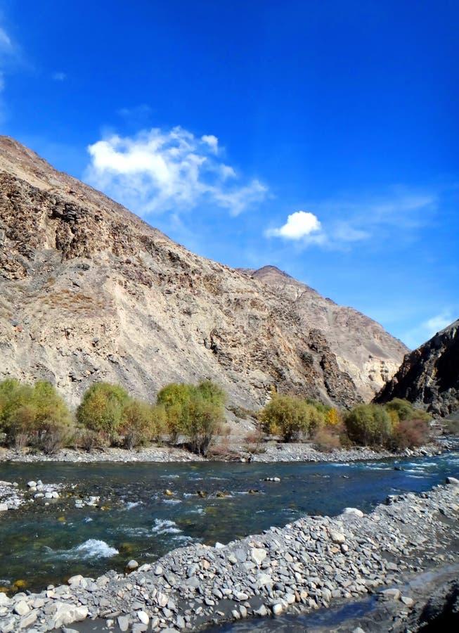 Karakoram bergskedja och Induset River royaltyfri bild