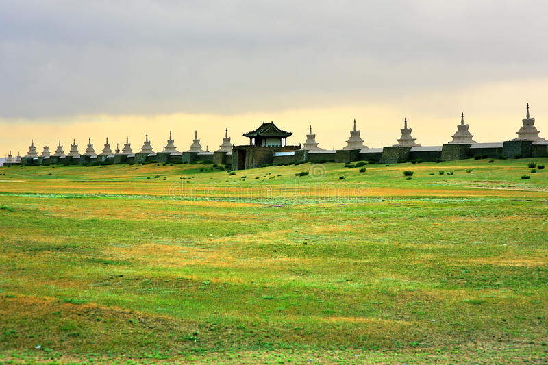Karakorum city walls, old capital of mongolia stock photo