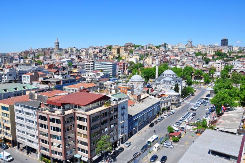 Karakoy-Bezirk, Istanbul-Vogelperspektive zur Stadt, Hafen von Istanbul stockfotografie