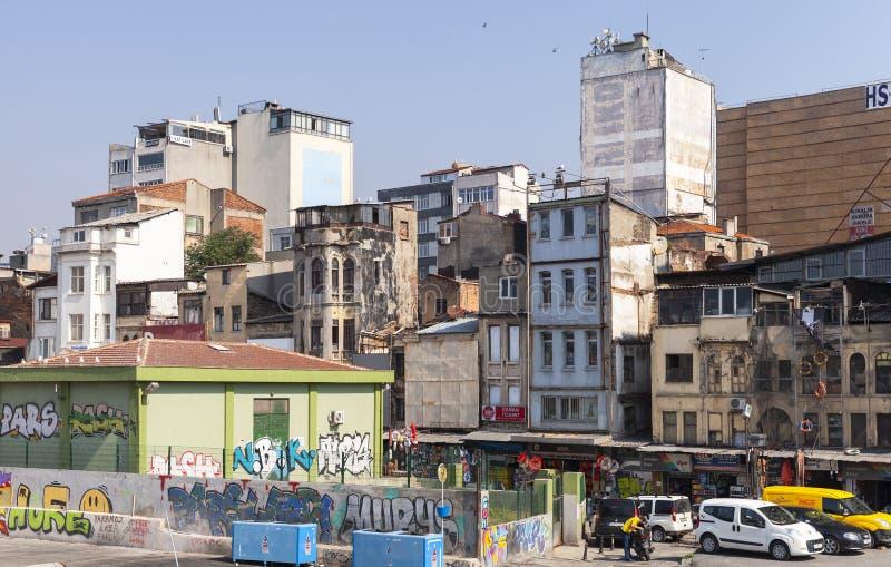 Karakoy street view, Istanbul, Turkey. Istanbul, Turkey - July 1, 2016: Karakoy street view, commercial quarter in the Beyoglu district of Istanbul, Turkey royalty free stock photography