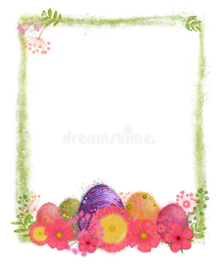 Karaktärsteckning för påskägg och vårblommamed den gröna dimmiga ramen royaltyfri illustrationer