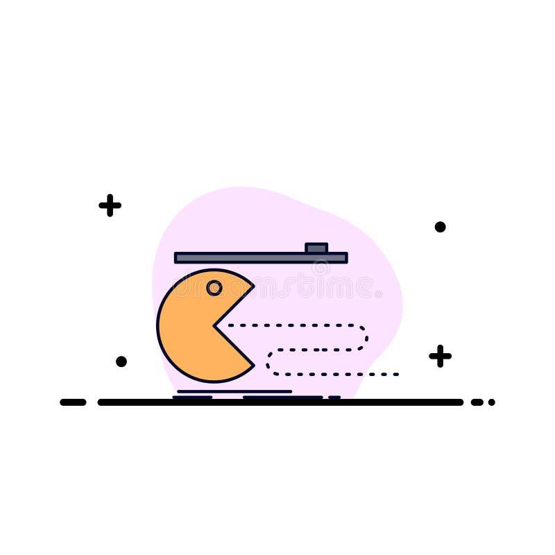 Karakter, computer, spel, gokken, de pacman Vlakke Vector van het Kleurenpictogram vector illustratie