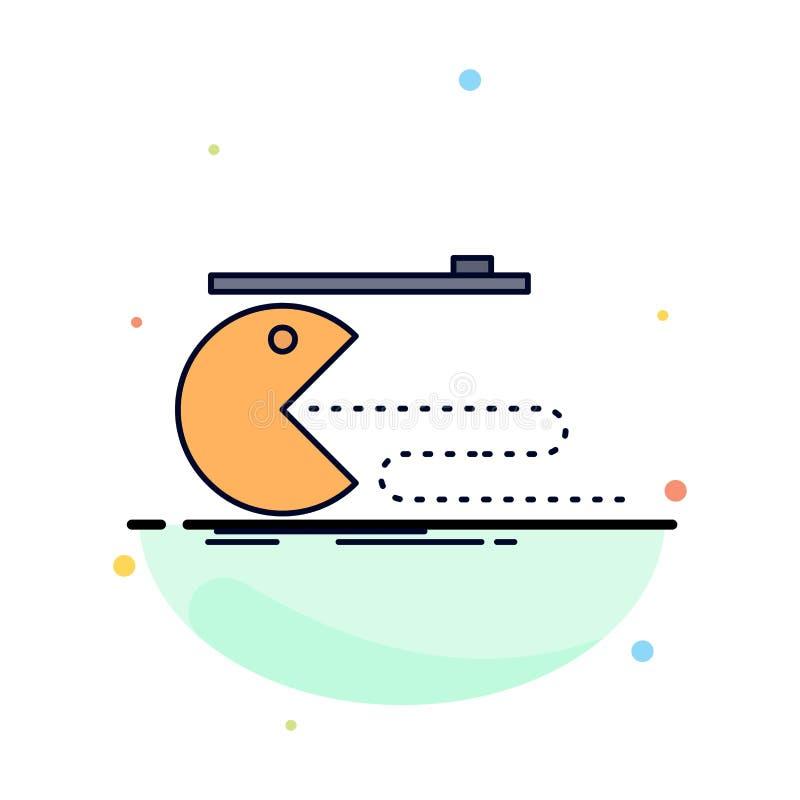Karakter, computer, spel, gokken, de pacman Vlakke Vector van het Kleurenpictogram stock illustratie
