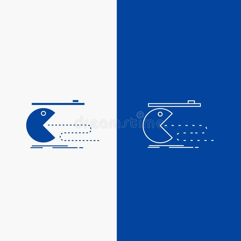 Karakter, computer, spel, gokken, pacman Lijn en Glyph-Webknoop in Blauwe kleuren Verticale Banner voor UI en UX, website of mobi vector illustratie