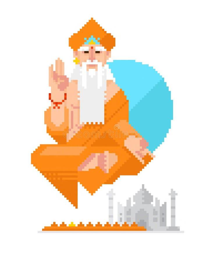 Karakter in de stijl van pixelart. Illustratie van een Indische monnik op een witte achtergrond in een techniek van de pixelkunst stock illustratie