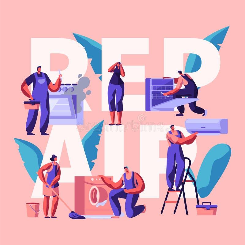 Karakter die Reparatiebanner maken Het technische Onderhouden, Moeilijke situatie of Vervangende Apparaten, Materiaal en Machines stock illustratie