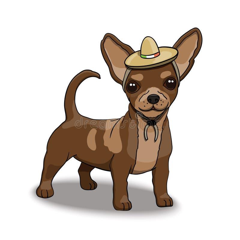 Karakter die van het Chihuahua het Glimlachende Beeldverhaal Sombrero dragen royalty-vrije illustratie